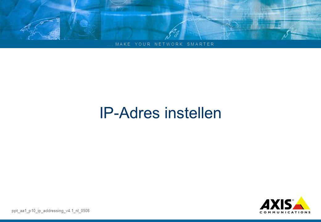 ... M A K E Y O U R N E T W O R K S M A R T E R IP-Adres instellen ppt_aa1_p10_ip_addressing_v4.1_nl_0508