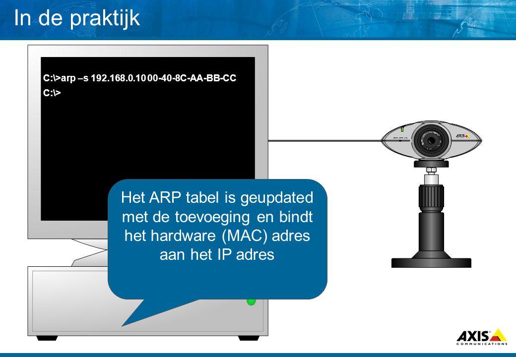 In de praktijk C:\>arp –s 192.168.0.10 00-40-8C-AA-BB-CC C:\> Het ARP tabel is geupdated met de toevoeging en bindt het hardware (MAC) adres aan het IP adres