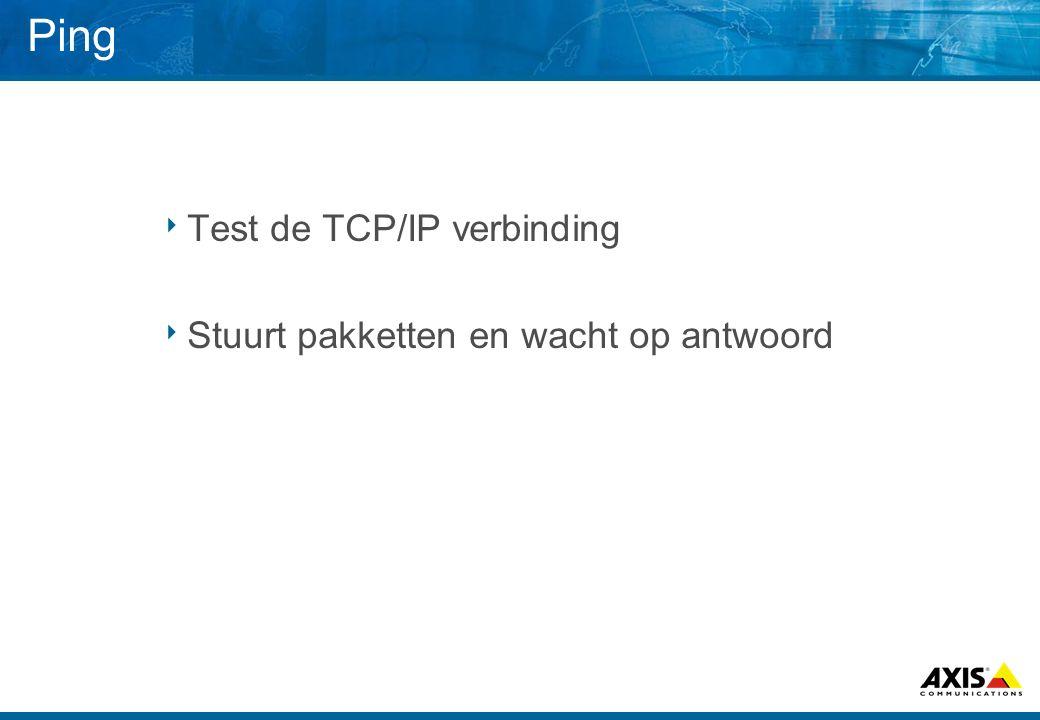 Ping  Test de TCP/IP verbinding  Stuurt pakketten en wacht op antwoord