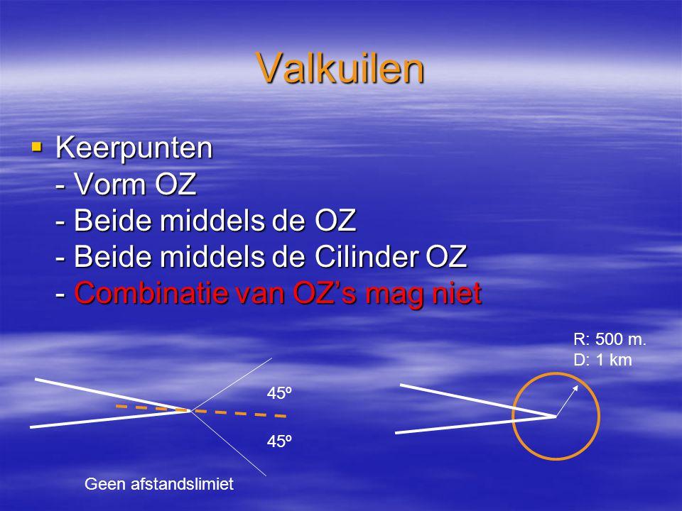 Valkuilen  Keerpunten - Vorm OZ - Beide middels de OZ - Beide middels de Cilinder OZ - Combinatie van OZ's mag niet 45º R: 500 m.