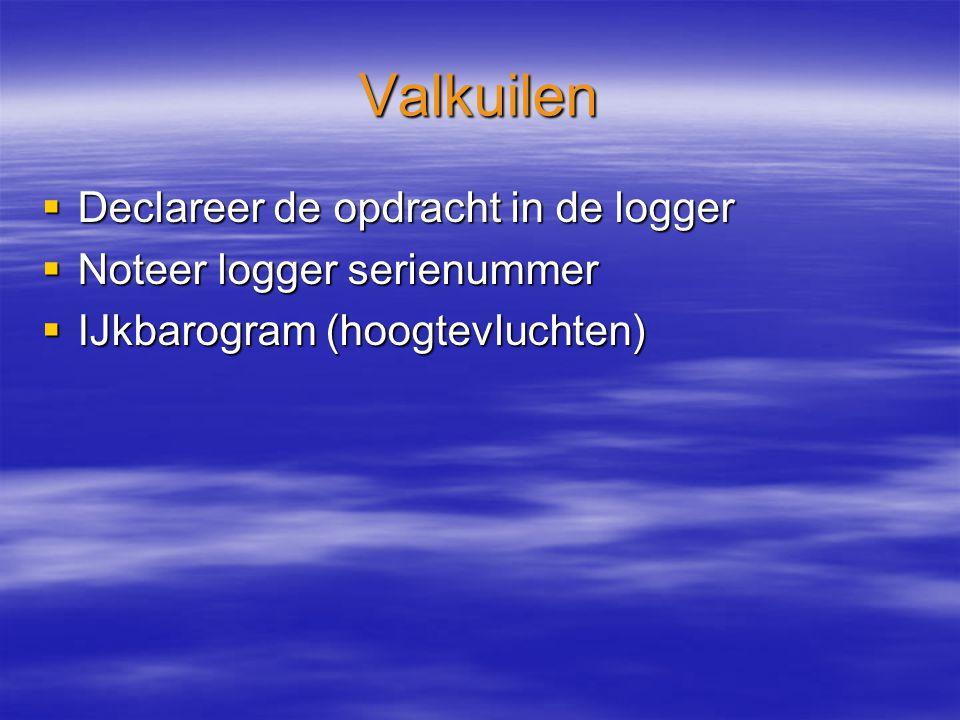 Valkuilen  Declareer de opdracht in de logger  Noteer logger serienummer  IJkbarogram (hoogtevluchten)