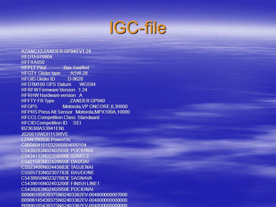 IGC-file AZANC13 ZANDER GP940 V1.24 HFDTE070804 HFFXA050 HFPLT Pilot :Bas Seijffert HFGTY Glider type :ASW-28 HFGID Glider ID :D-9628 HFDTM100 GPS Datum :WGS84 HFRFW Firmware Version :1.24 HFRHW Hardware version :A HFFTY FR Type :ZANDER GP940 HFGPS :Motorola,VP ONCORE,8,30000 HFPRS Press Alt Sensor :Motorola,MPX100A,10000 HFCCL Competition Class :Standaard HFCID Competition ID :SEI I023638IAS3941ENL J020810WDI1113WVE LZAN 090606 PowerOn C060804101032060804000104 C5439283N02402950E POCIUNAI C5434133N02358000E START 2 C5421583N02420650E DAUGAI C5523400N02445683E TAUJENAI C5505733N02307783E RAUDONE C5438950N02327883E SASNAVA C5439016N02403200E FINISH LINE1 C5439283N02402950E POCIUNAI B0906105439375N02403362EV-004800000007000 B0906145439375N02403362EV-004800000000000 B0906185439375N02403362EV-004800000000000