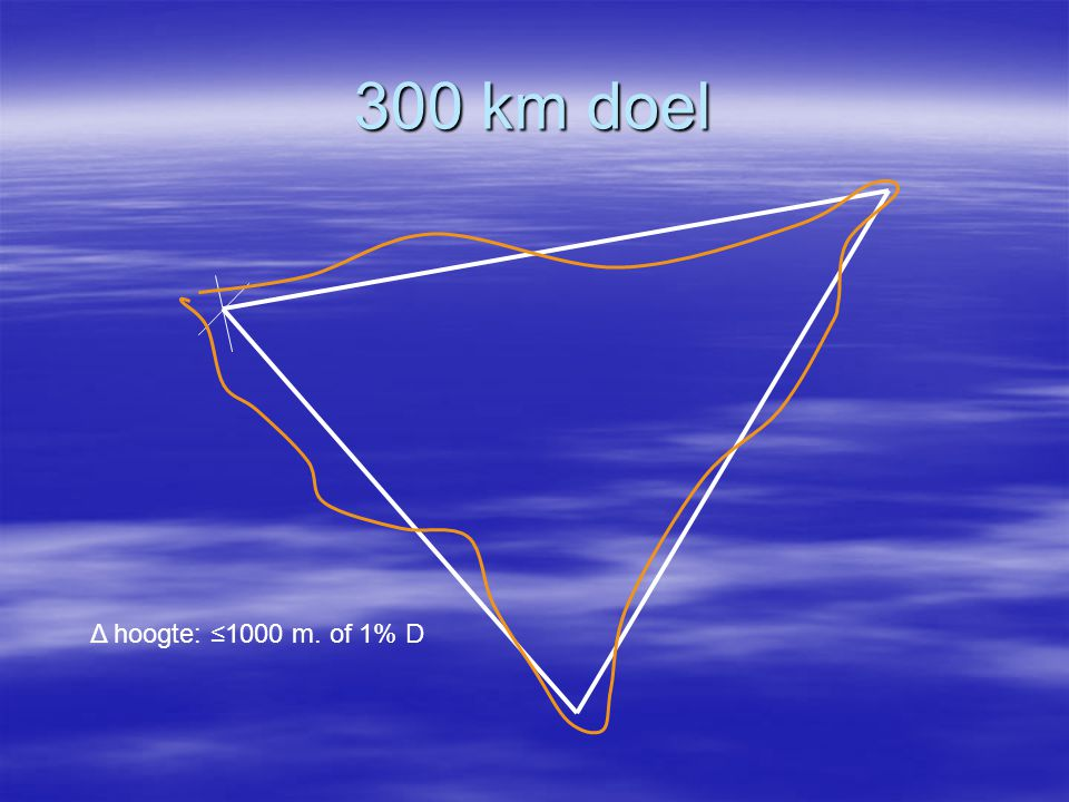 300 km doel Δ hoogte: ≤1000 m. of 1% D