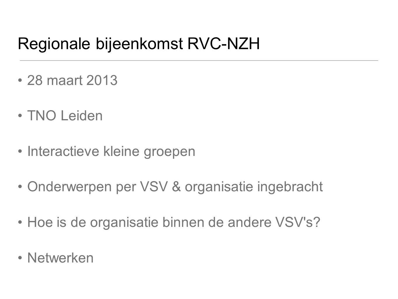 Regionale bijeenkomst RVC-NZH 28 maart 2013 TNO Leiden Interactieve kleine groepen Onderwerpen per VSV & organisatie ingebracht Hoe is de organisatie