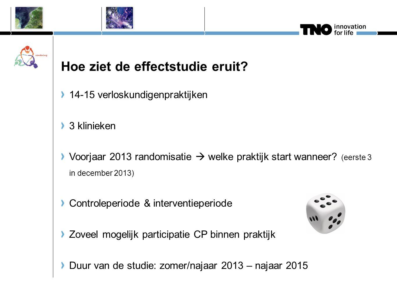 Hoe ziet de effectstudie eruit? 14-15 verloskundigenpraktijken 3 klinieken Voorjaar 2013 randomisatie  welke praktijk start wanneer? (eerste 3 in dec