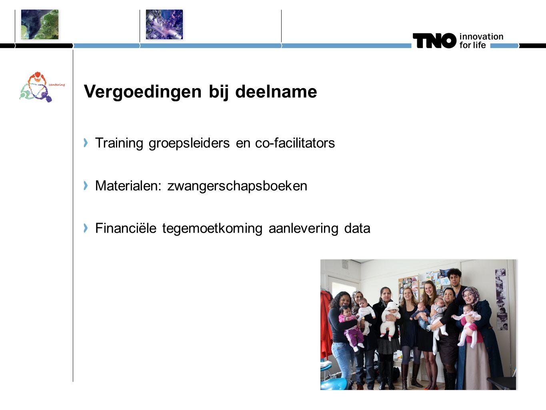 Vergoedingen bij deelname Training groepsleiders en co-facilitators Materialen: zwangerschapsboeken Financiële tegemoetkoming aanlevering data