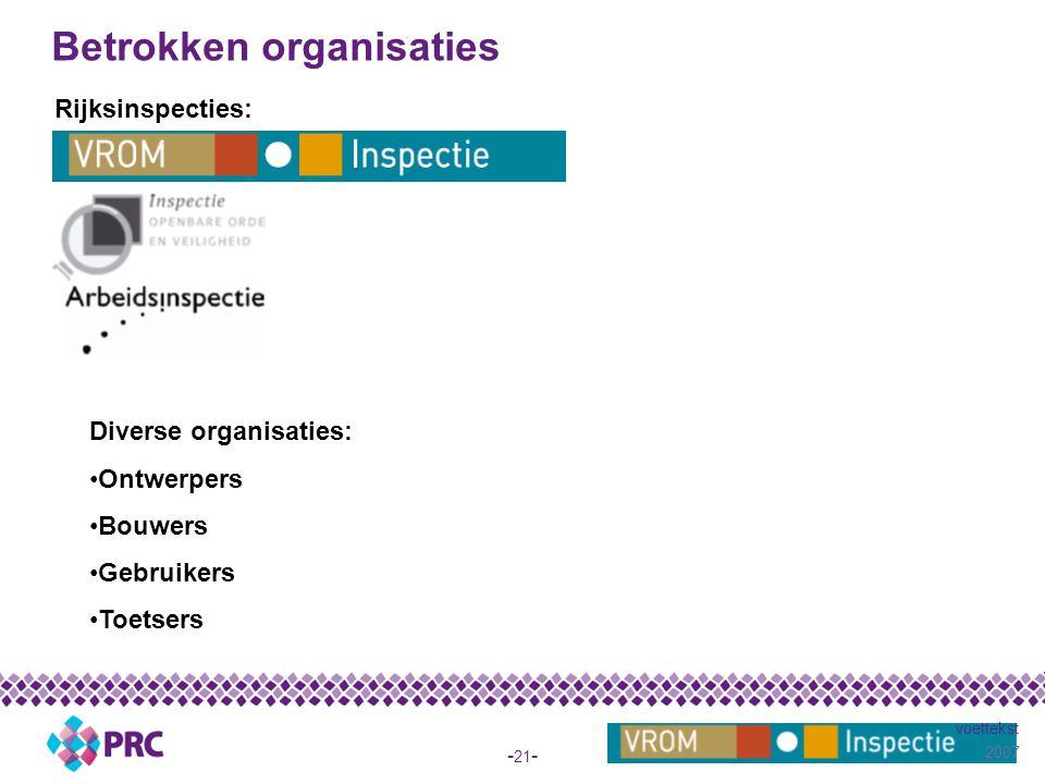 2007 voettekst - 21 - Betrokken organisaties Rijksinspecties: Diverse organisaties: Ontwerpers Bouwers Gebruikers Toetsers