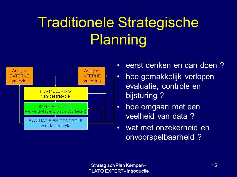Strategisch Plan Kempen - PLATO EXPERT - Introductie 15 Traditionele Strategische Planning eerst denken en dan doen ? hoe gemakkelijk verlopen evaluat