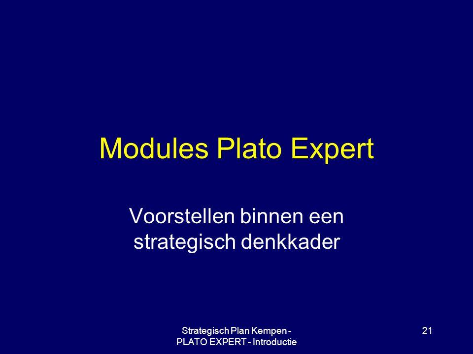 Strategisch Plan Kempen - PLATO EXPERT - Introductie 21 Modules Plato Expert Voorstellen binnen een strategisch denkkader