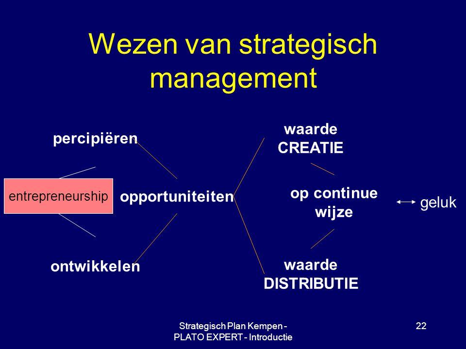Strategisch Plan Kempen - PLATO EXPERT - Introductie 22 Wezen van strategisch management percipiëren ontwikkelen opportuniteiten waarde CREATIE waarde DISTRIBUTIE op continue wijze geluk entrepreneurship