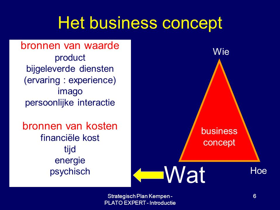 Strategisch Plan Kempen - PLATO EXPERT - Introductie 6 Het business concept Wie Hoe Wat business concept bronnen van waarde product bijgeleverde diensten (ervaring : experience) imago persoonlijke interactie bronnen van kosten financiële kost tijd energie psychisch