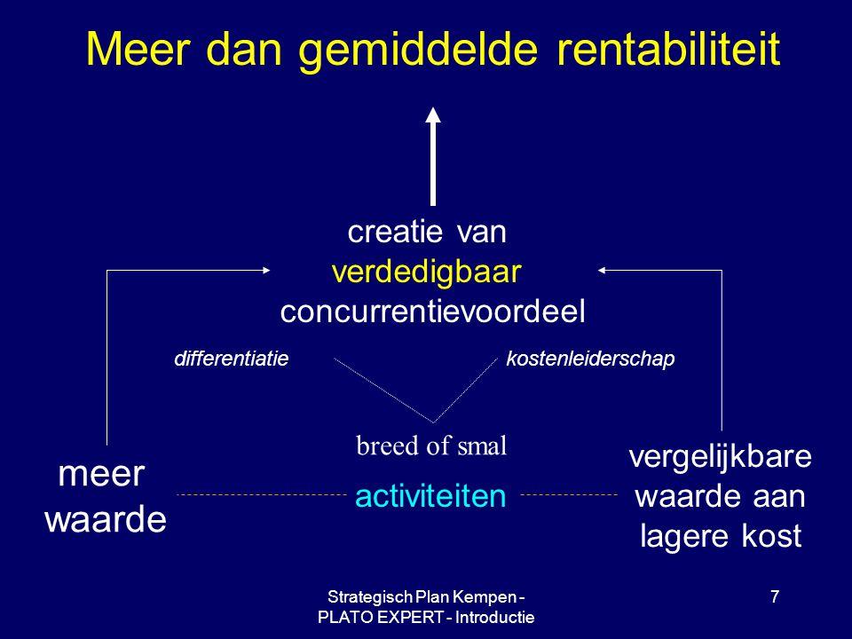 Strategisch Plan Kempen - PLATO EXPERT - Introductie 7 Meer dan gemiddelde rentabiliteit creatie van verdedigbaar concurrentievoordeel meer waarde vergelijkbare waarde aan lagere kost activiteiten differentiatiekostenleiderschap breed of smal