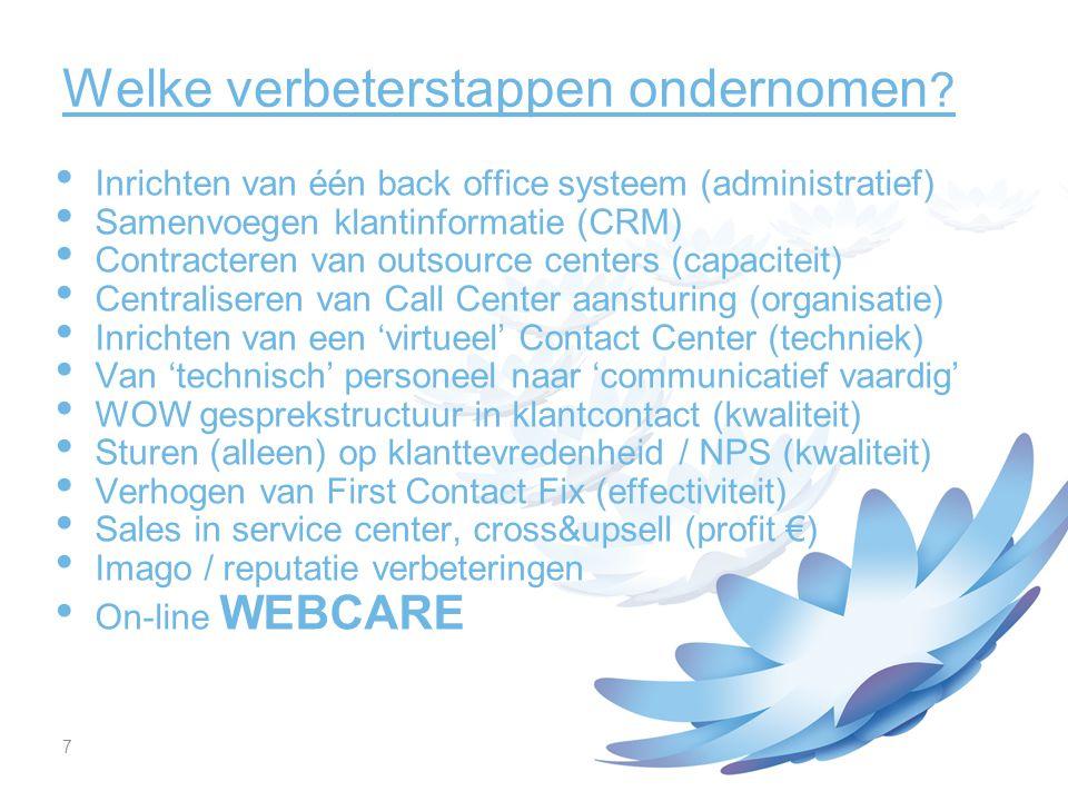 18 Resultaten van het Webcare-team Realisatie van de pro- en inter-actieve strategie Verworven plek in de UPC organisatie Hoge first contact fix (>95%) op de on-line klachten Hoge bijdrage aan de PR waarde van UPC Positieve bijdrage aan het imago van de organisatie