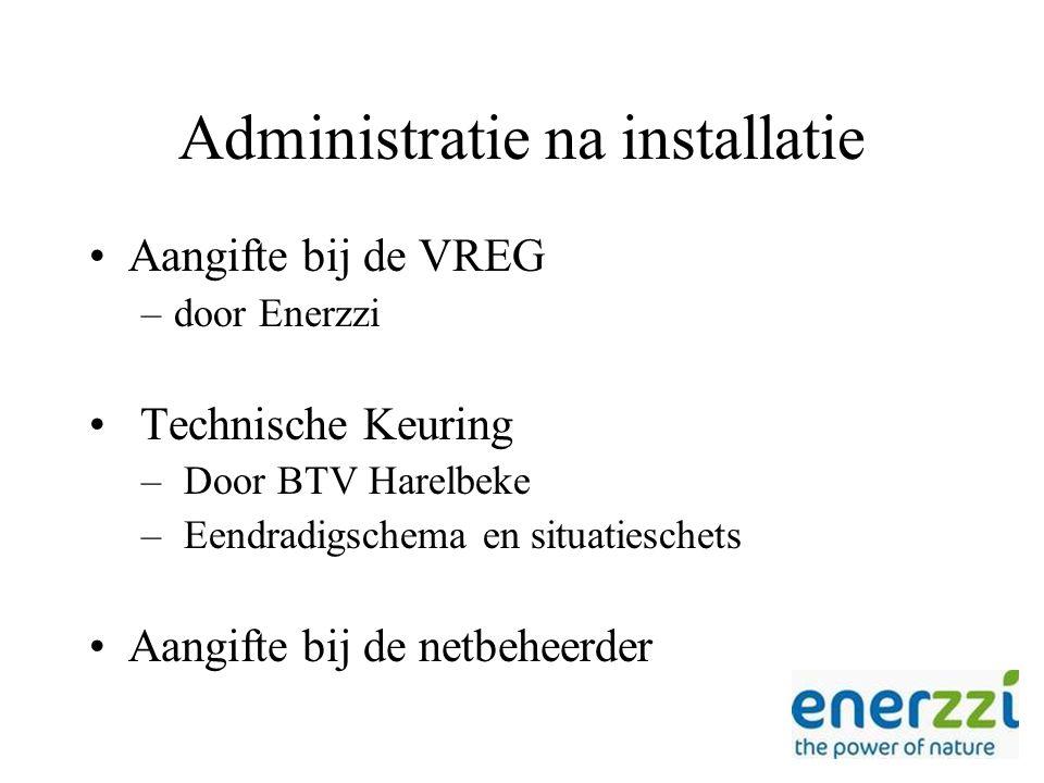 Administratie na installatie Aangifte bij de VREG –door Enerzzi Technische Keuring – Door BTV Harelbeke – Eendradigschema en situatieschets Aangifte bij de netbeheerder