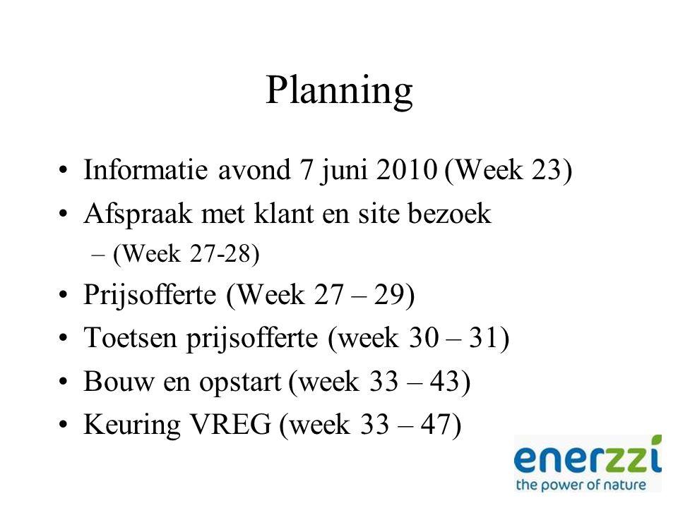 Planning Informatie avond 7 juni 2010 (Week 23) Afspraak met klant en site bezoek –(Week 27-28) Prijsofferte (Week 27 – 29) Toetsen prijsofferte (week