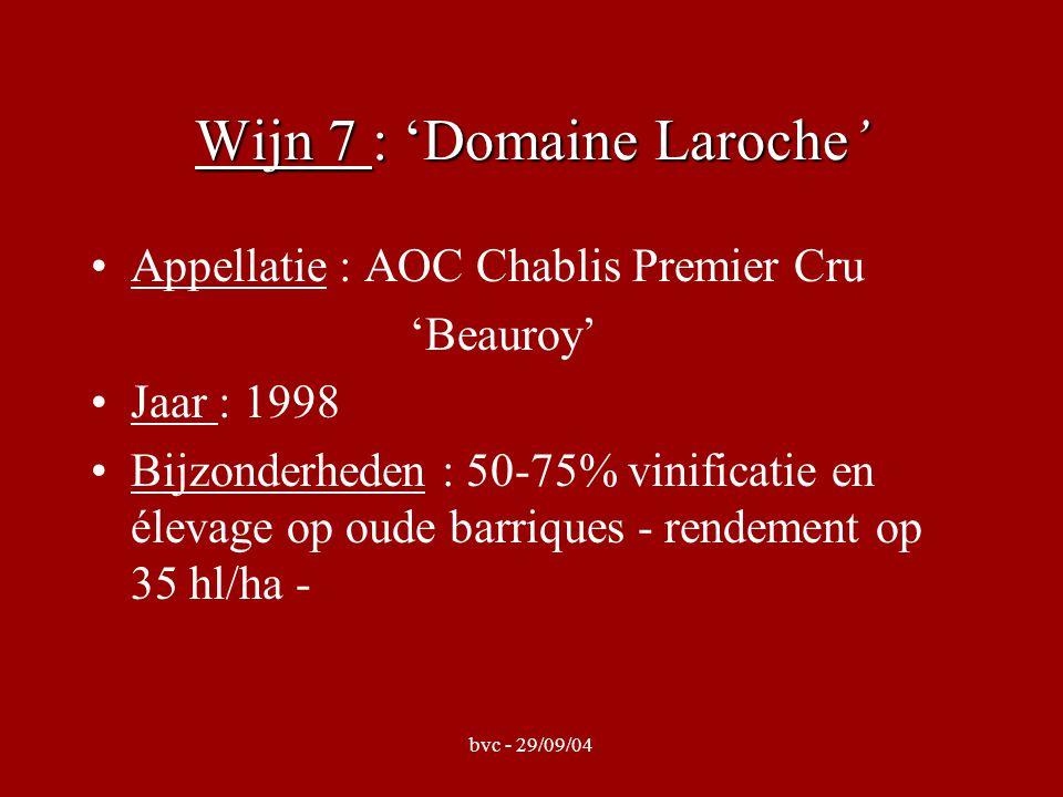 bvc - 29/09/04 Wijn 7 : 'Domaine Laroche' Appellatie : AOC Chablis Premier Cru 'Beauroy' Jaar : 1998 Bijzonderheden : 50-75% vinificatie en élevage op