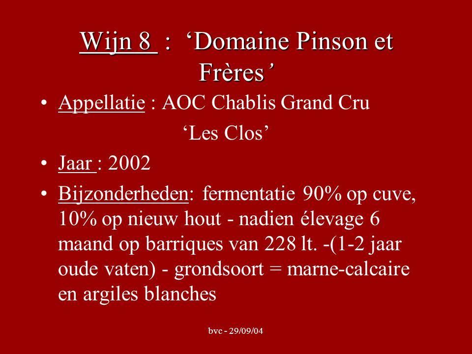 bvc - 29/09/04 Wijn 8 : 'Domaine Pinson et Frères' Appellatie : AOC Chablis Grand Cru 'Les Clos' Jaar : 2002 Bijzonderheden: fermentatie 90% op cuve,