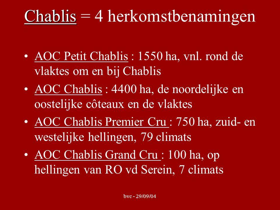 bvc - 29/09/04 Chablis Chablis = 4 herkomstbenamingen AOC Petit Chablis : 1550 ha, vnl. rond de vlaktes om en bij Chablis AOC Chablis : 4400 ha, de no