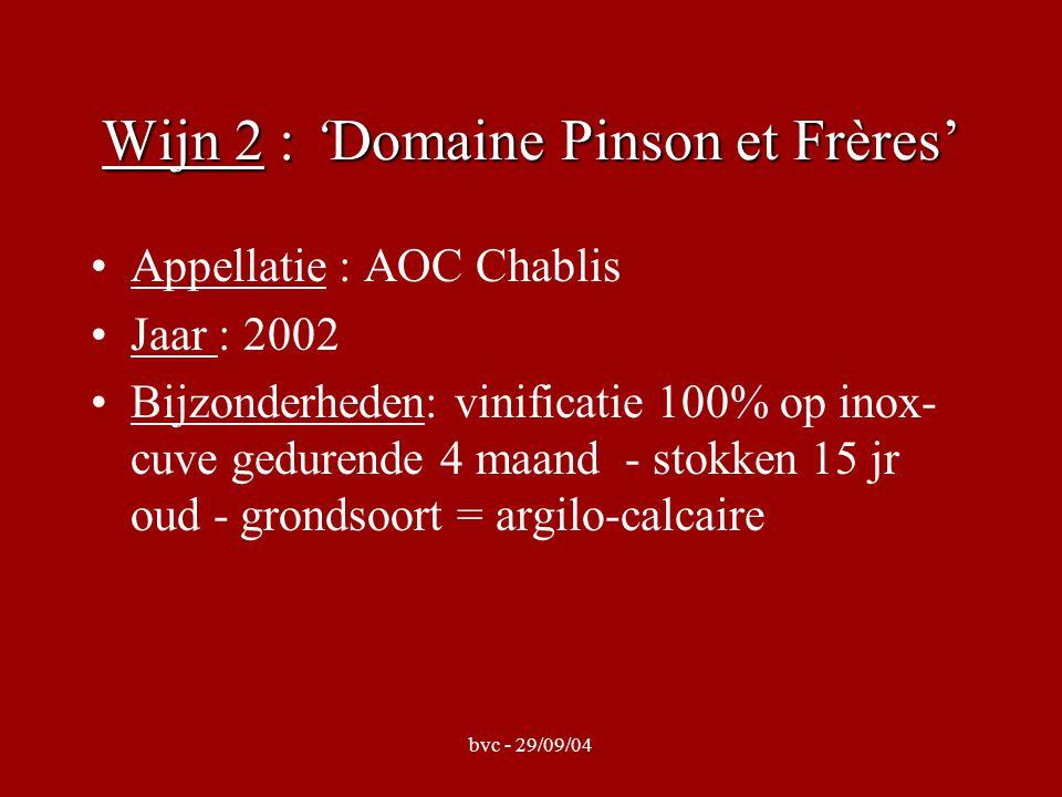 bvc - 29/09/04 Wijn 2 : 'Domaine Pinson et Frères' Appellatie : AOC Chablis Jaar : 2002 Bijzonderheden: vinificatie 100% op inox- cuve gedurende 4 maa