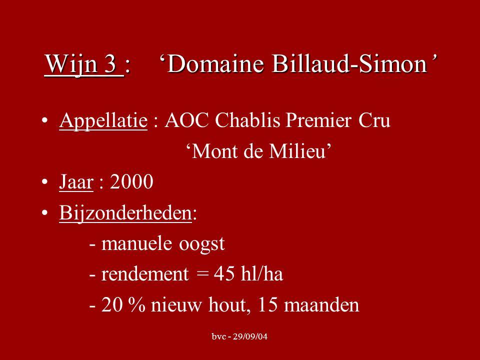 bvc - 29/09/04 Wijn 4: 'Domaine Sylvain Mosnier' Appellatie : AOC Chablis Premier Cru 'Côtes de Lechet' Jaar : 2002 Bijzonderheden : grondsoort = argilo- calcaire - vinificatie op inox, nadien élevage op barriques