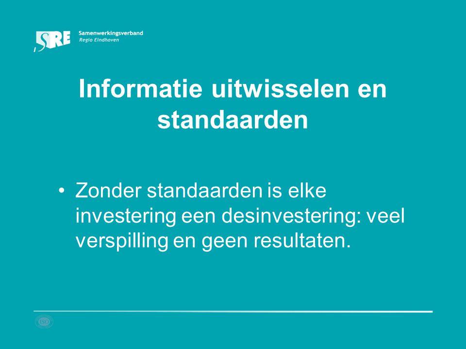 Informatie uitwisselen en standaarden Zonder standaarden is elke investering een desinvestering: veel verspilling en geen resultaten.