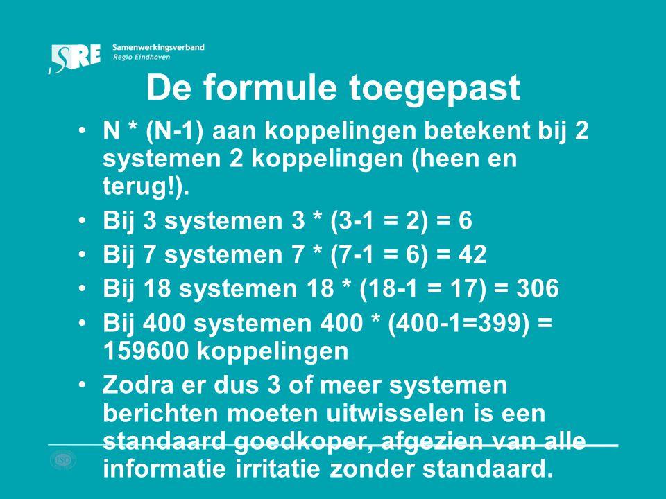 De formule toegepast N * (N-1) aan koppelingen betekent bij 2 systemen 2 koppelingen (heen en terug!). Bij 3 systemen 3 * (3-1 = 2) = 6 Bij 7 systemen