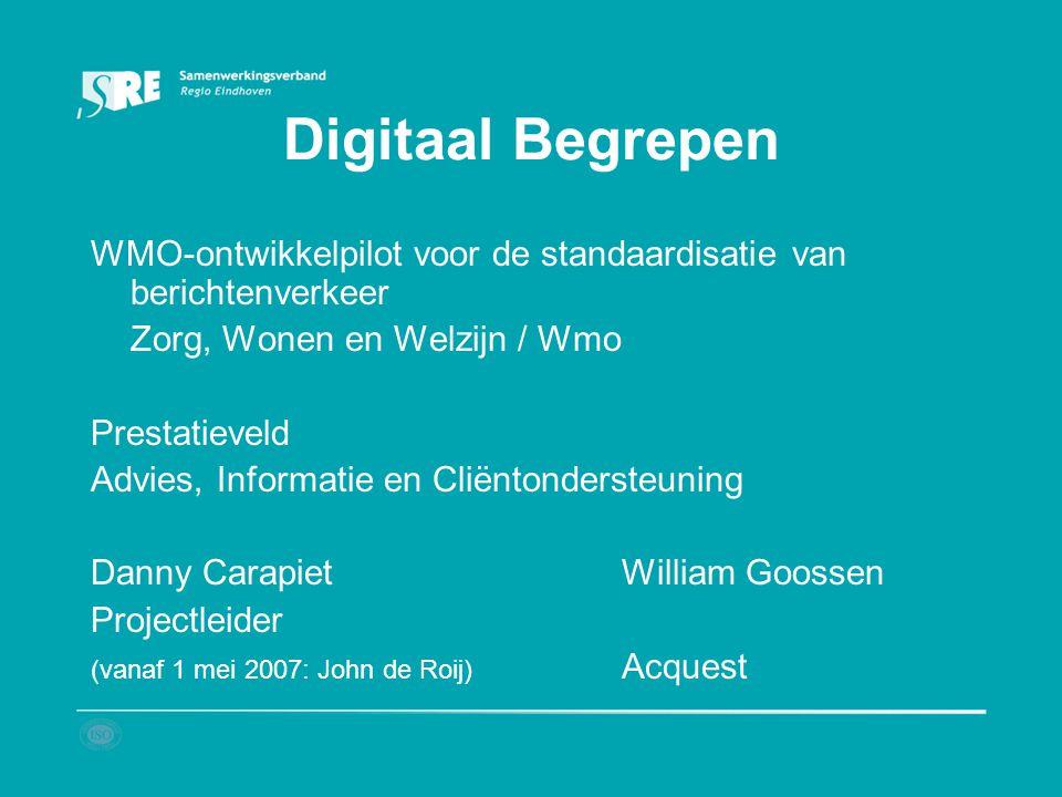 Digitaal Begrepen WMO-ontwikkelpilot voor de standaardisatie van berichtenverkeer Zorg, Wonen en Welzijn / Wmo Prestatieveld Advies, Informatie en Cli