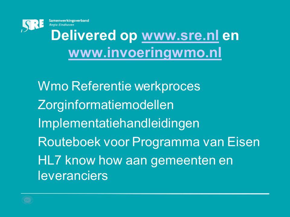 Delivered op www.sre.nl en www.invoeringwmo.nlwww.sre.nl www.invoeringwmo.nl Wmo Referentie werkproces Zorginformatiemodellen Implementatiehandleiding