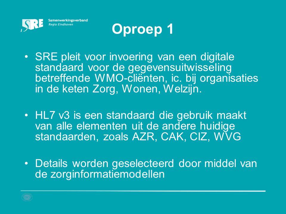 Oproep 1 SRE pleit voor invoering van een digitale standaard voor de gegevensuitwisseling betreffende WMO-cliënten, ic. bij organisaties in de keten Z