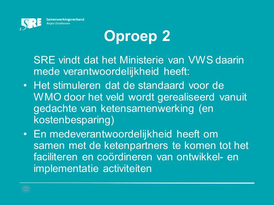 Oproep 2 SRE vindt dat het Ministerie van VWS daarin mede verantwoordelijkheid heeft: Het stimuleren dat de standaard voor de WMO door het veld wordt