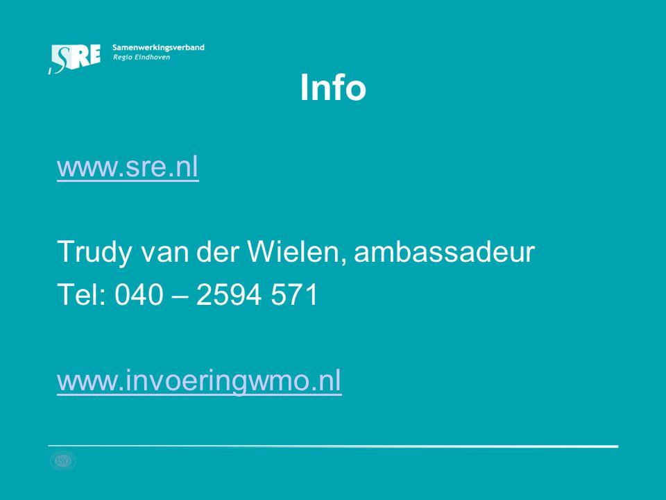 Info www.sre.nl Trudy van der Wielen, ambassadeur Tel: 040 – 2594 571 www.invoeringwmo.nl