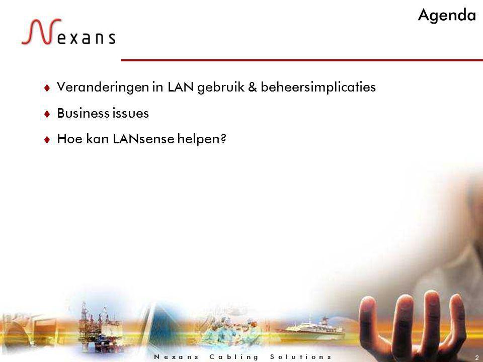 N e x a n s C a b l i n g S o l u t i o n s 2 Agenda t Veranderingen in LAN gebruik & beheersimplicaties t Business issues t Hoe kan LANsense helpen