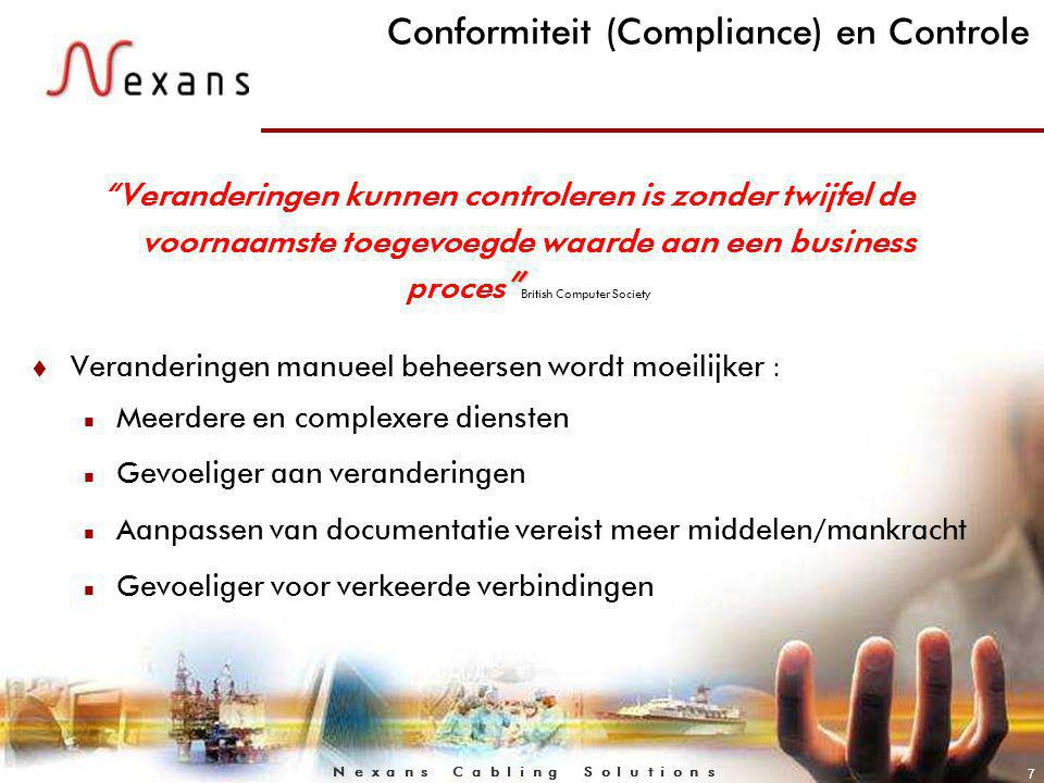 N e x a n s C a b l i n g S o l u t i o n s 8 Reglementatie & Compliance t Reglementaire en conforme vereisten benadrukken allemaal de nood aan geautomatiseerde controle n Sarbanes Oxley (Financial&Accounting Disclosure Information)www.sarbanes-oxley.com n BASEL II (Regulatory compliance in risk management for financial institutions) n ITIL (Information Technology Infrastructure Library-most widely accepted approach to servicemanagement) www.itil.com t Standardisatie veranderingen n EN 50174 Part 1 (specification & quality assurance of a structured system during planning & installation phase etc.)