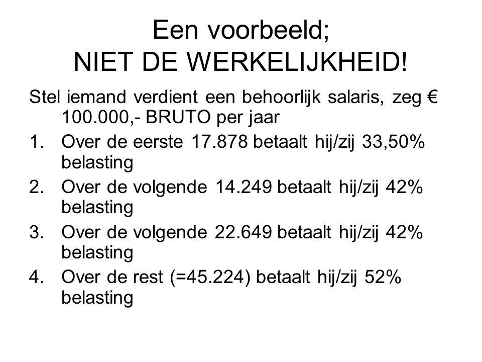 Een voorbeeld; NIET DE WERKELIJKHEID! Stel iemand verdient een behoorlijk salaris, zeg € 100.000,- BRUTO per jaar 1.Over de eerste 17.878 betaalt hij/