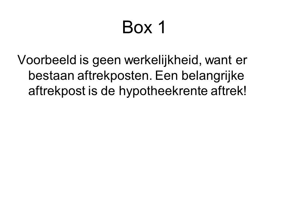 Box 1 Voorbeeld is geen werkelijkheid, want er bestaan aftrekposten. Een belangrijke aftrekpost is de hypotheekrente aftrek!