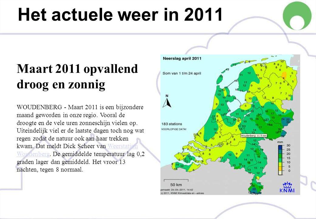Het actuele weer in 2011 Maart 2011 opvallend droog en zonnig WOUDENBERG - Maart 2011 is een bijzondere maand geworden in onze regio.