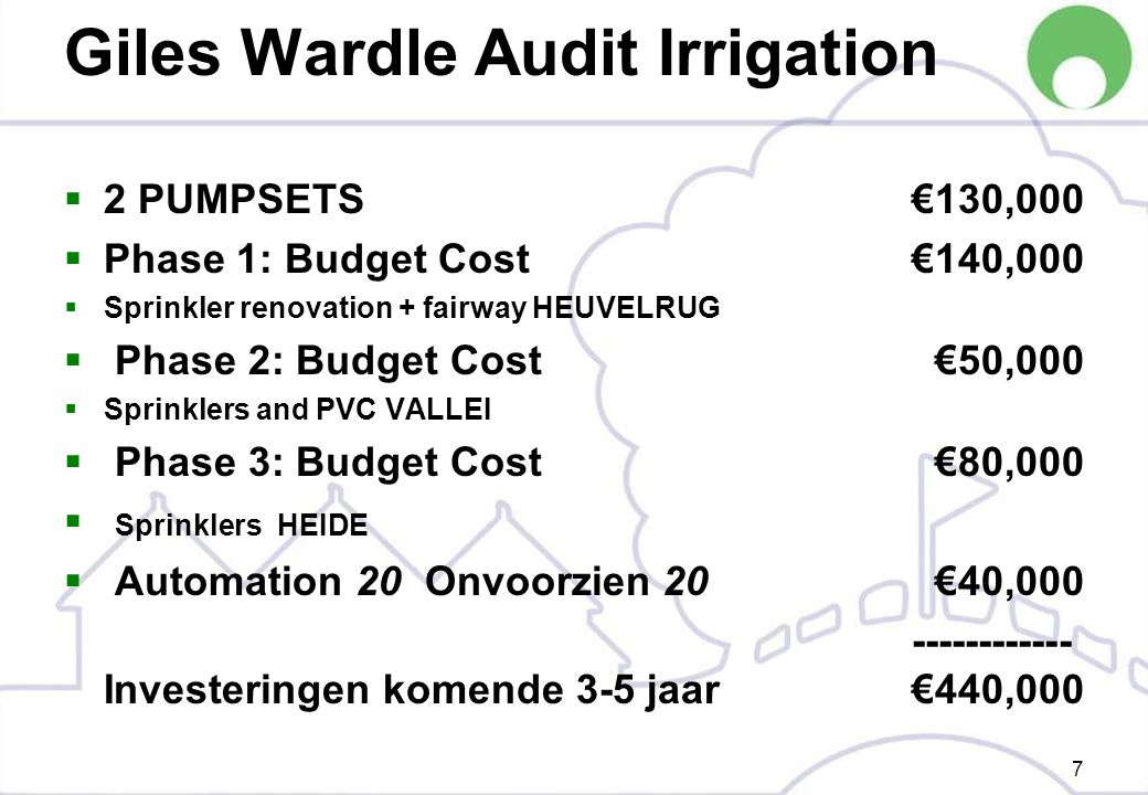 Giles Wardle Audit Irrigation  2 PUMPSETS €130,000  Phase 1: Budget Cost €140,000  Sprinkler renovation + fairway HEUVELRUG  Phase 2: Budget Cost €50,000  Sprinklers and PVC VALLEI  Phase 3: Budget Cost €80,000  Sprinklers HEIDE  Automation 20 Onvoorzien 20 €40,000 ------------ Investeringen komende 3-5 jaar €440,000 7