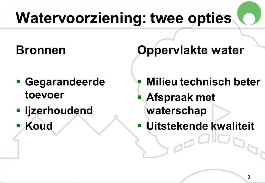Watervoorziening: twee opties Bronnen  Gegarandeerde toevoer  Ijzerhoudend  Koud Oppervlakte water  Milieu technisch beter  Afspraak met waterschap  Uitstekende kwaliteit 8