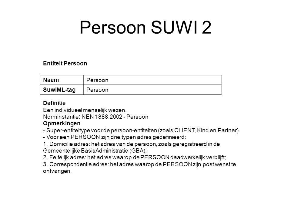 Persoon SUWI 2 Entiteit Persoon NaamPersoon SuwiML-tagPersoon Definitie Een individueel menselijk wezen. Norminstantie: NEN 1888:2002 - Persoon Opmerk