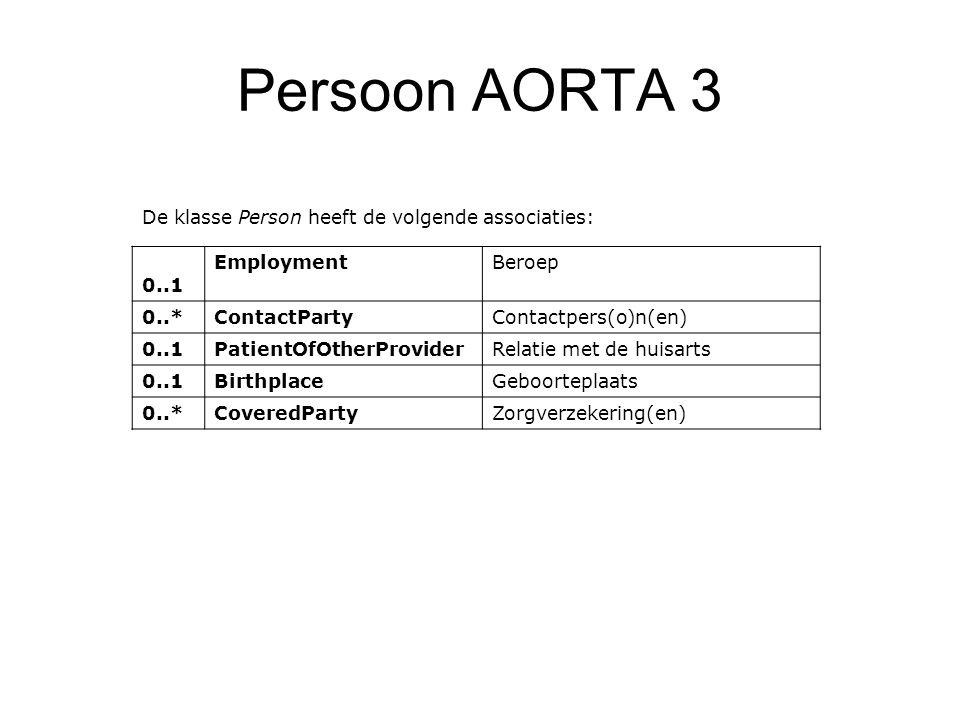 Persoon AORTA 3 De klasse Person heeft de volgende associaties: 0..1 EmploymentBeroep 0..*ContactParty Contactpers(o)n(en) 0..1PatientOfOtherProvider