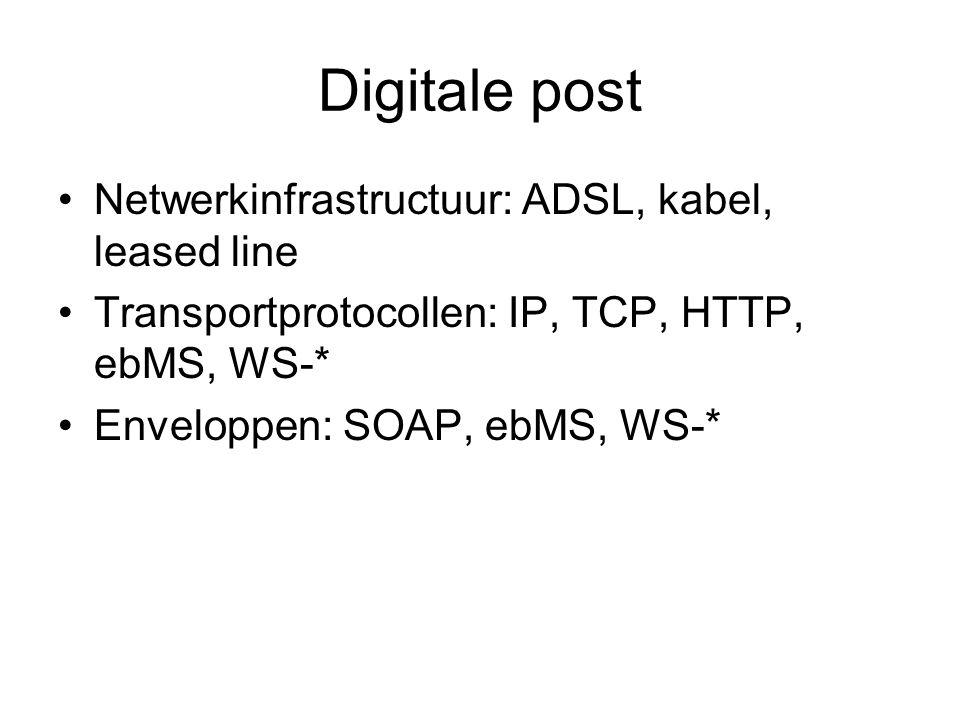 Netwerkinfrastructuur: ADSL, kabel, leased line Transportprotocollen: IP, TCP, HTTP, ebMS, WS-* Enveloppen: SOAP, ebMS, WS-*