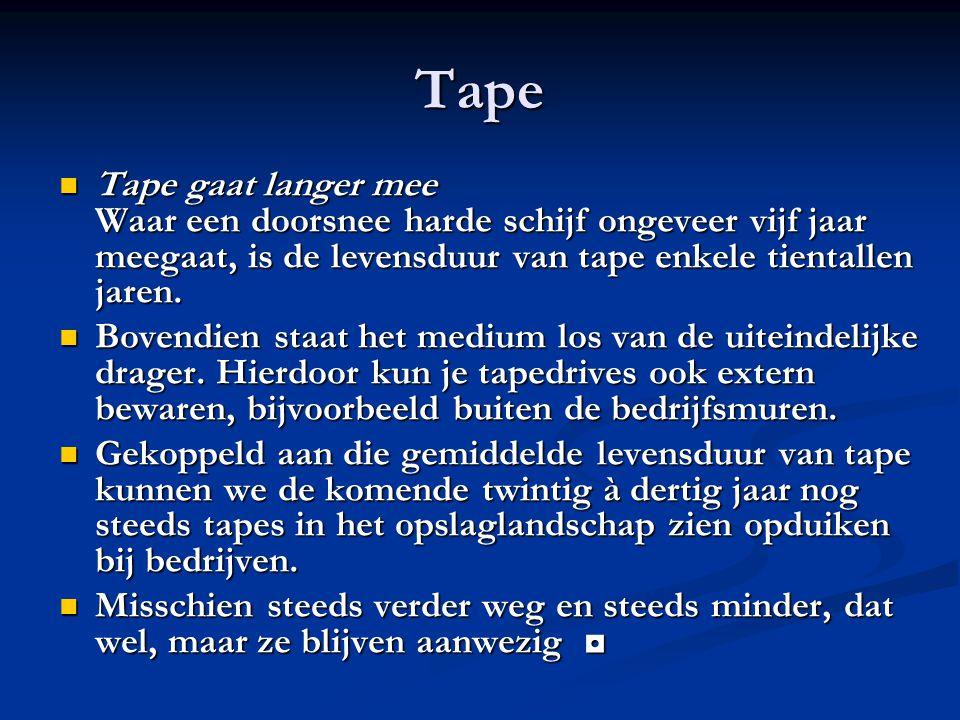 Tape Tape gaat langer mee Waar een doorsnee harde schijf ongeveer vijf jaar meegaat, is de levensduur van tape enkele tientallen jaren. Tape gaat lang