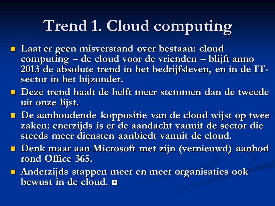 Trend 1. Cloud computing Laat er geen misverstand over bestaan: cloud computing – de cloud voor de vrienden – blijft anno 2013 de absolute trend in he