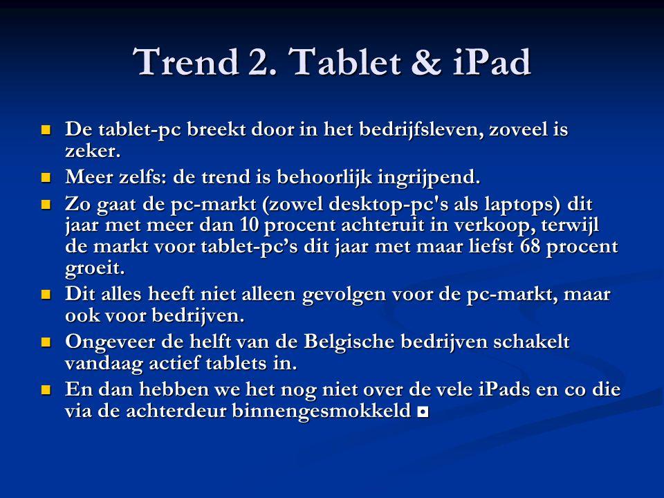 Trend 2. Tablet & iPad De tablet-pc breekt door in het bedrijfsleven, zoveel is zeker. De tablet-pc breekt door in het bedrijfsleven, zoveel is zeker.