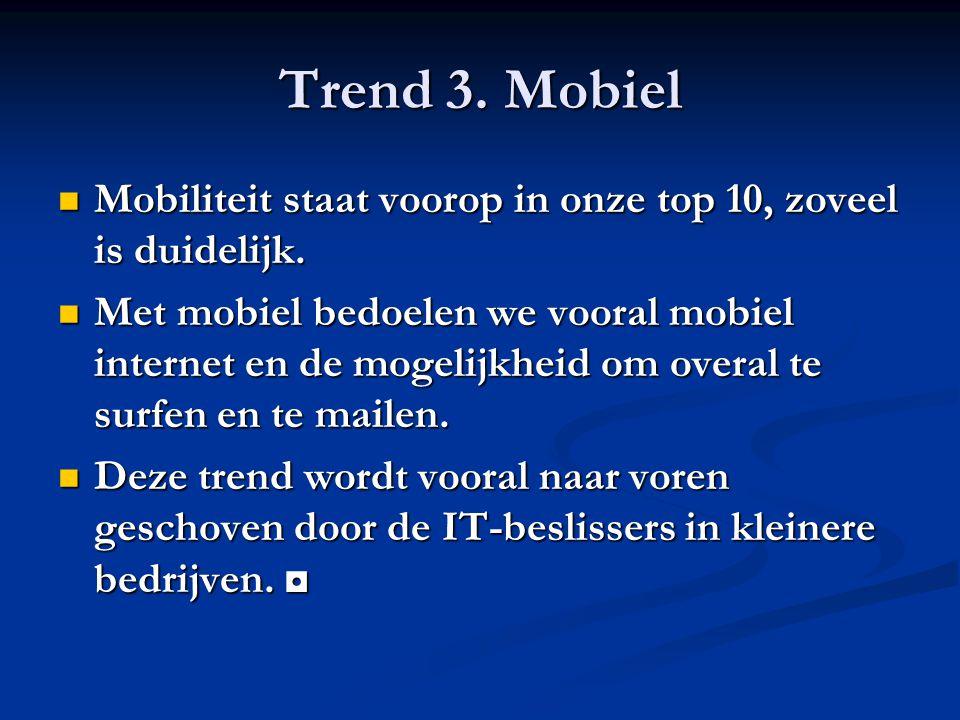 Trend 3. Mobiel Mobiliteit staat voorop in onze top 10, zoveel is duidelijk. Mobiliteit staat voorop in onze top 10, zoveel is duidelijk. Met mobiel b