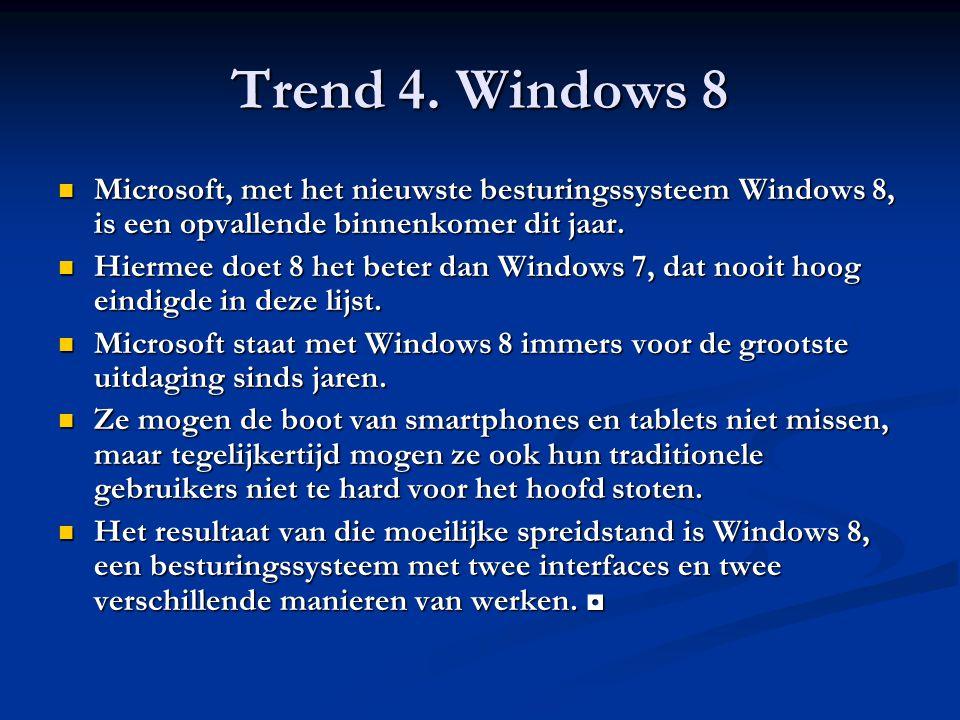 Trend 4. Windows 8 Microsoft, met het nieuwste besturingssysteem Windows 8, is een opvallende binnenkomer dit jaar. Microsoft, met het nieuwste bestur