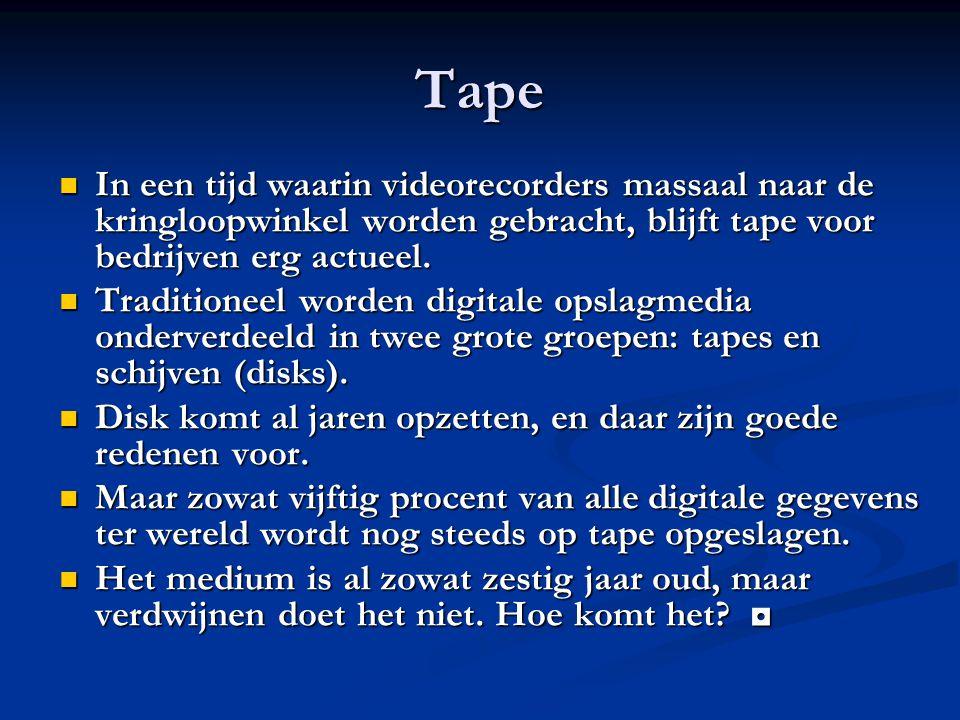 Tape In een tijd waarin videorecorders massaal naar de kringloopwinkel worden gebracht, blijft tape voor bedrijven erg actueel. In een tijd waarin vid