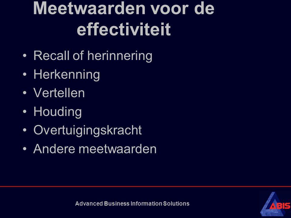 Advanced Business Information Solutions Meetwaarden voor de effectiviteit Recall of herinnering Herkenning Vertellen Houding Overtuigingskracht Andere meetwaarden