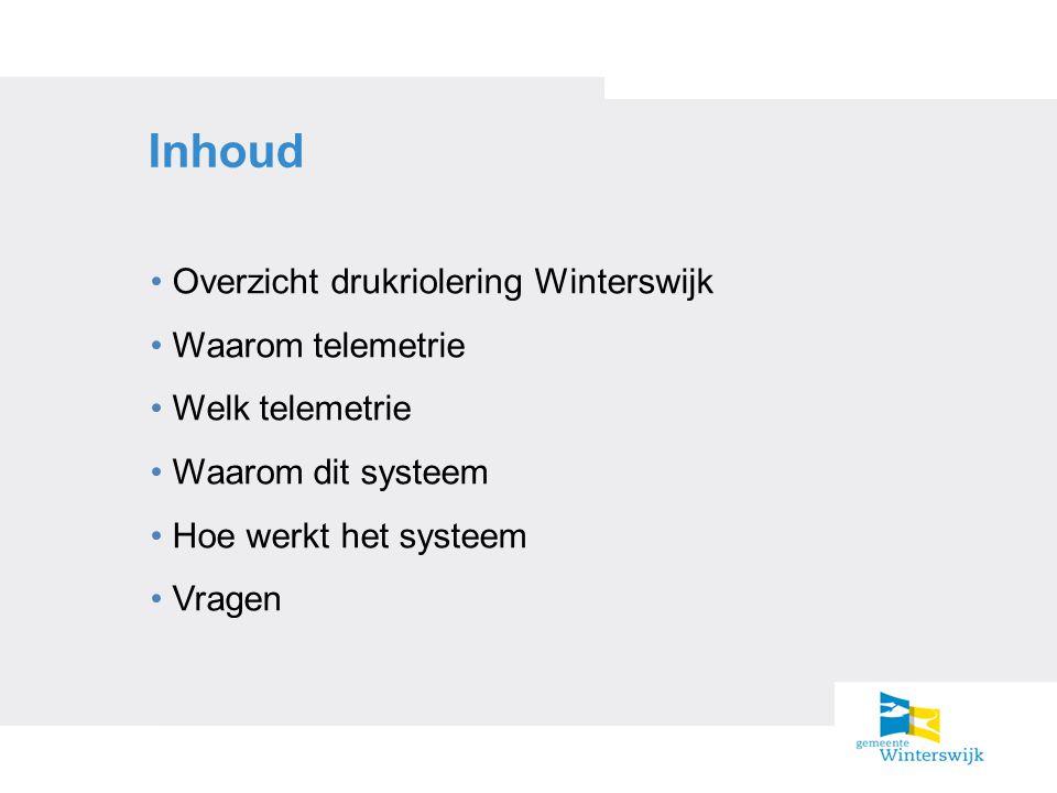 Inhoud Overzicht drukriolering Winterswijk Waarom telemetrie Welk telemetrie Waarom dit systeem Hoe werkt het systeem Vragen