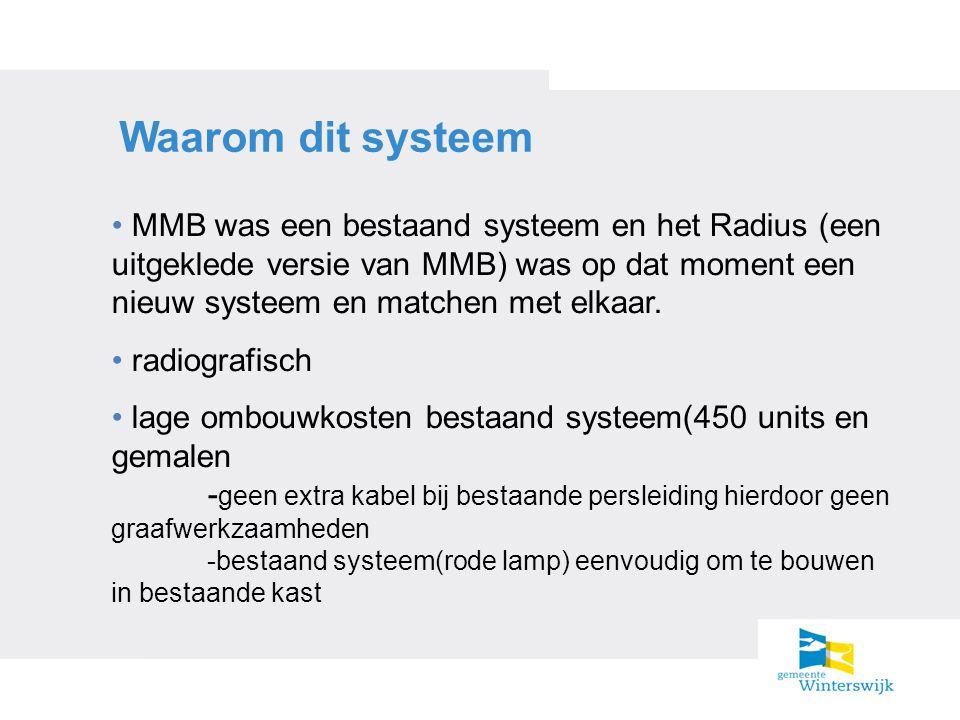 Waarom dit systeem MMB was een bestaand systeem en het Radius (een uitgeklede versie van MMB) was op dat moment een nieuw systeem en matchen met elkaa